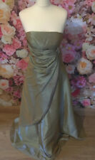 Iridescent Vintage Gold Green Satin Look Prom Dress Gown Bridesmaid Bridesmaid 8