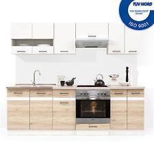 Küche mit Elektrogeräten Spülbecken Einbauküche Küchenzeile E-Geräten Eiche Weiß