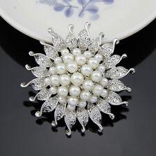 Silver Flower Bridal Brooch Full Imitation Pearl Party Broach Pin Wedding Gift