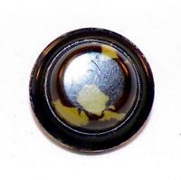 Art Deco Celluloid Button Olive Sage Green Brown Black Metal Base Vintage Jacket
