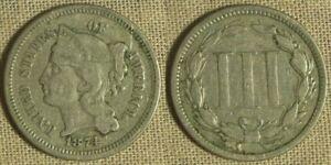3 Ct. Nickel: 1874 VF-XF IRS241