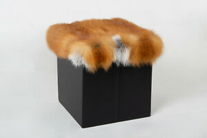 4561 Canadian Red Fox Sitting Chair Genuine Fur Stool Real Fur Bench Natural Fur