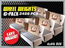 6- 9LB BOXES 3456 PIECES STICK-ON ADHESIVE TAPE 1/4 OZ WHEEL WEIGHTS $13.09 EACH