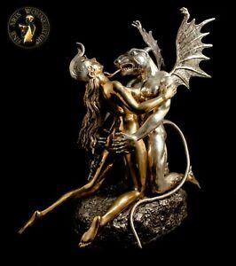 FINE ARTS Wohnkultur Bronze Skulptur Beauty & Beast Figur Statue Erotik Metall