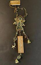 Angel Ornament Glass Gold Peace Bell Roman Inc
