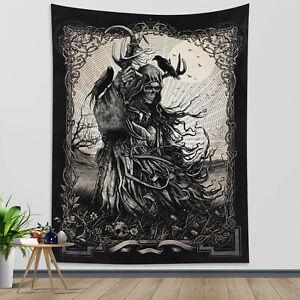 Grim Reaper Tapestry Death Tarot Flower Skull Wall Hanging Living Room Bedroom