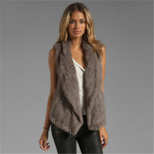 100 Real Knitted Rabbit Fur Women Vest Gilet Ladies Warm Grey Casual Waistcoat L(bust 96cm) Wine Red