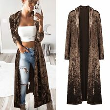Street Style Solid Color Long Velvet Cardigan Coats - Coffee