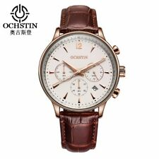 Mens Classic Chronograph Quartz Watch With Date - R Gold - Genuine Leather Strap