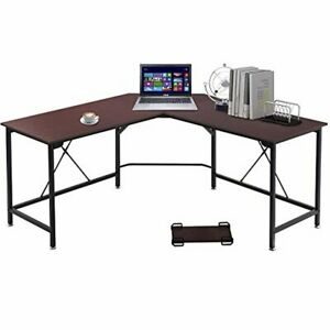 Home Corner L-Shaped Computer Desk Walnut Writing Table Wood Office Furniture