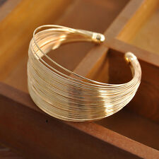Women Multilayer Metal Wristband Gold Pleated for Men Punk Bracelet Bangle Gift