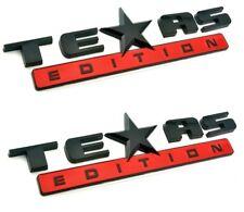 *TWO* BLACK AND RED TEXAS EDITION EMBLEM CHEVY SILVERADO GMC SIERRA TRUCK DECAL.