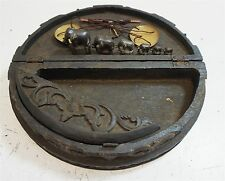 Antique Burmese or Thai Carved Wood Smoking Box w/ Elephant Weights
