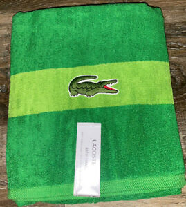"Lacoste ~ Green Bath Towel 100% Cotton 30"" x 52"" Big Crocodile Logo"