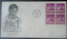First day of issue, 1948 Honoring Will Rogers, block of 4, Scott # 975