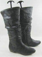 "new Womens Black 1""Low Block Heel Side Zip Sexy Mid-Calf Boots Size 6.5"