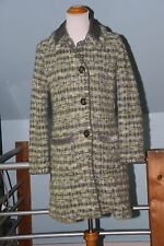 SIGRID OLSEN Green & Gray Tweed Boucle Wool Coat with Velvet Trim - Medium