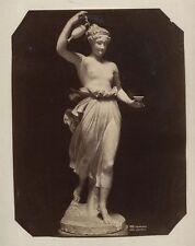 ANTIQUE PHOTO STATUE CLASSIC ROMAN FEMALE FIGURE. VENEZIA, ITALY.