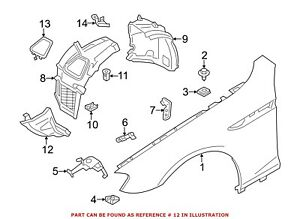 For BMW Genuine Fender Liner Extension Front Right Lower 51757224466