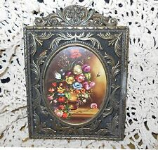 Vintage Scrolling Brass Frame Litho Print Pink Rose Victorian Home Picture Italy