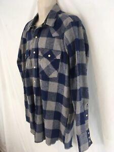 Saddle King Western Mens XL 17 1/2 Blue Buffalo Plaid Pearl Snap Flannel Shirt