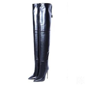Women High Stiletto Heel Patent Leather Shoes Over Knee Thigh Boots Clubwear Hot