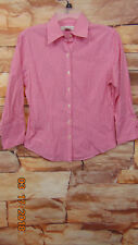 Brooks Brothers Pink White Plaid Check Button Front Shirt Blouse Size 4 B-33