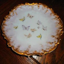 Vintage Limoges Hand Painted Plate-Pink Yellow Butterflies-Scalloped Gold Gilt