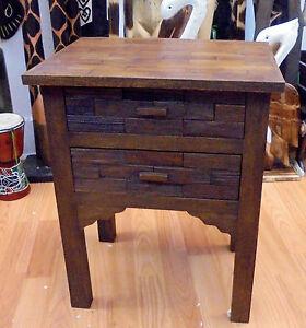 HANDMADE RECLAIMED TEAK WOOD  TABLE TWO DRAWER SIDE TABLE DESK  RUSTIC BRAND NEW