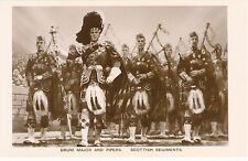 POSTCARD   MILITARY    Drum  Major  and  Pipes   Scottich  Regiments