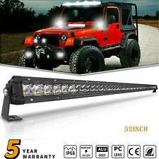 Single Row 52Inch 500W LED Light Bar Spot Combo Offroad For Jeep Wrangler JK CJ