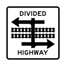 Light Rail Divided Highway Symbol - 24 x 24 - A Real Sign. 10 Year 3M Warranty.