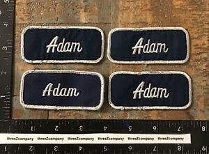 Lot Of 4 Adam Name Tag Patches Badges Blue/White