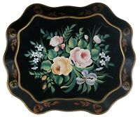 Vintage Pilgrim Art No 140 Scalloped Toleware Tray Black Gold Hand Painted Roses