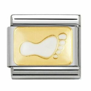 NOMINATION Classic Gold & White Footprint Plate Charm ref 030209/42 rrp £22.00