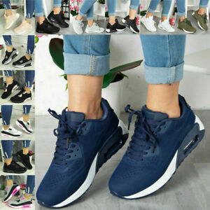Ladies Trainers Running Shoes Womens Lace Up Flat Comfy Fitness Gym Sports Size