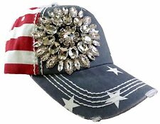 Olive and Pique Super Bling Ball Cap! Bristly Bling Flower on USA Flag Print!!