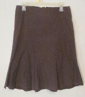 Forever 21 Women's Skirt Size Medium M Brown Polka Dot Mid Calf Length Flare