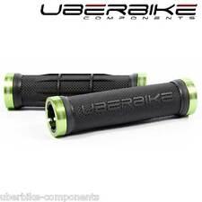 Uberbike Half Waffle Lock on mountain bike Handlebar Grips Black/Green