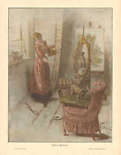 French Bulldog, Artist Studio, Portrait, Vintage 1894 German Antique Art Print