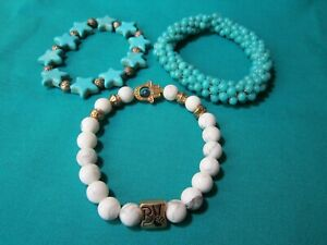 Bracelet Lot of 3: Glass & Acrylic Stretch Turquoise & White Gemstone & Hamsa