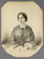 1850s Emilio Vieusseux | fine original pencil portrait | woman with braided hair