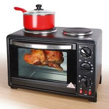 30L Black Mini Kitchen Oven and Hob (1440W) For Baking, Cooking Roasting etc.