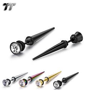 TT 7mm Clear CZ Stainless Steel Fake Ear Plug Long Spike Earrings (BE189) NEW