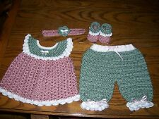 Handmade Crocheted Baby Girl Outfit. Green, White, Mauve. Fits approx. 6-12 mo.