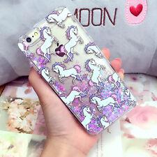 Cute Cartoon Unicorn Liquid Glitter Case Cover for Apple iPhone 6 6s Plus 5s for Samsung S7 Edge