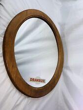 "Vintage Drambuie Liqueur Alcohol Man Cave Bar Oval Mirror Wood Frame 23"" X 19.5"""