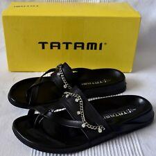 TATAMI BIRKENSTOCK Chelsea Black Leather Crystal Chain Sandals EU 40 US 9 UK 7