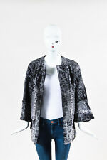 Marni NWT  Black Gray Persian Lamb Fur Three Quarter Sleeve Jacket SZ 42