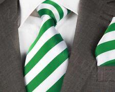 NUOVO Stilista Italiano Verde & Bianco a Righe Cravatta Di Seta & Hanky